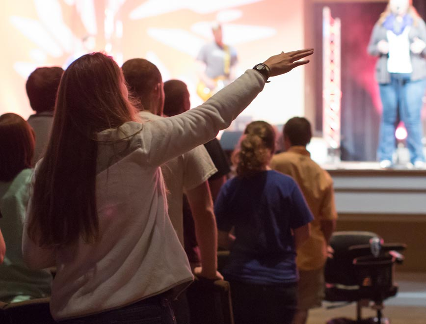 Students worship in chapel as part of the faith-integrated curriculum at this Christian college in South Carolina.
