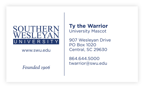 Front of SWU business card