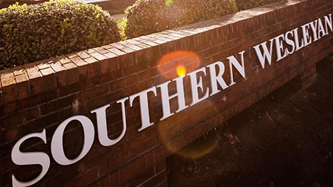 Southern Wesleyan University sign. Christian college in South Carolina.