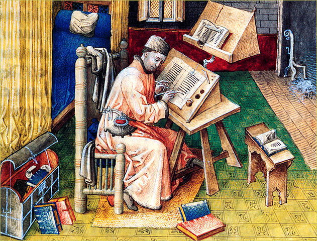 Scriptorium monk copying Scriptures
