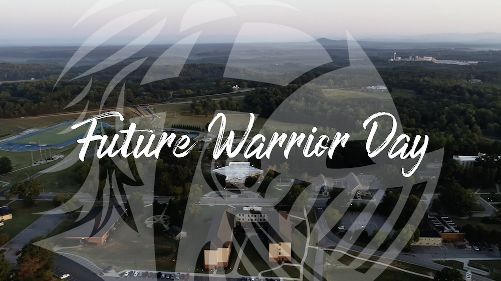Future Warrior Day with warrior head over aerial shot of Southern Wesleyan University campus